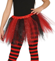 Girls Red & Black Glittery Fancy Dress Tutu