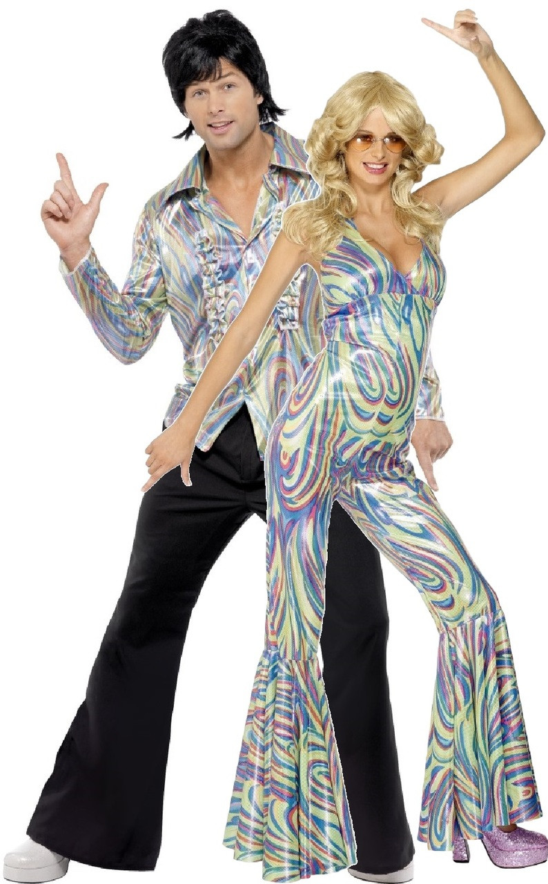 couples 70s disco fancy dress costume previous image 1