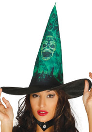 Ladies Black & Green Ghost Witch Hat