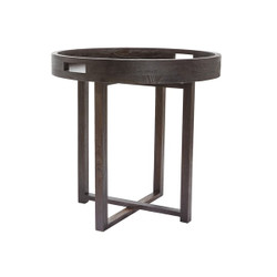 Lazy Susan Round Black Teak Coffee Table Tray