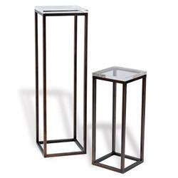 Drake Bronze/Lucite Pedestals- Set Of 2