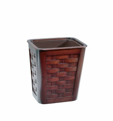 Small Woven Mahagony Wastebasket With Insert