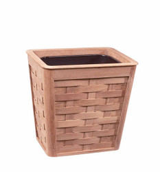 Woven Teak Wastebasket With Insert