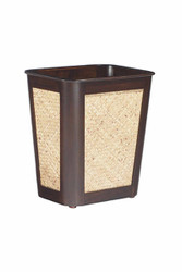 Small Mahogany And Rattan Wastebasket