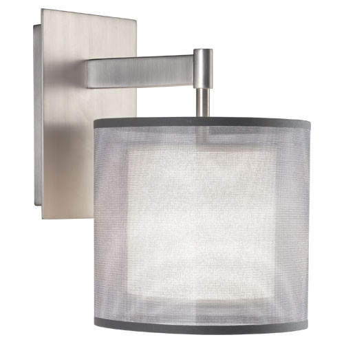 Robert Abbey Saturnia Wall Sconce Stainless Steel Silver Transparent Fabric Exterior Shade W