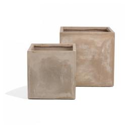 Urbano Square Fiber Clay Set of 2 Planters