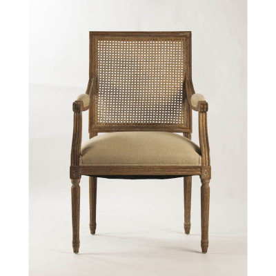 Louis Arm Chair   Natural Linen And Limed Grey Oak