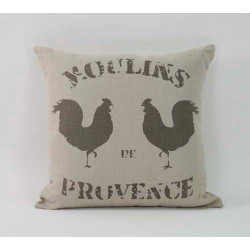 Throw Pillow - French Pillow with Roosters