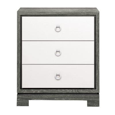 Berkeley 3 Drawer Side Table W/ Chrome Pulls, Gray
