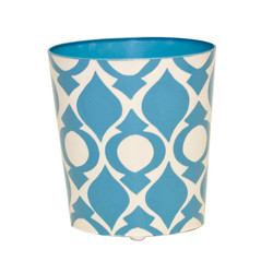 Oval Wastebasket Blue And Cream