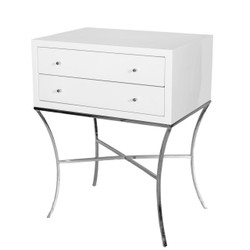 Elena Two Drawer Side Table In White Lacquer With Nickel Base