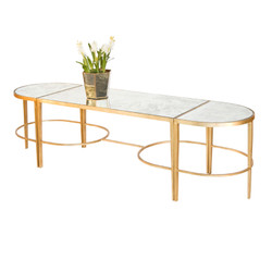 3 Piece Gold Leaf Sabre Leg Coffee Table With Antique Mirrored Tops