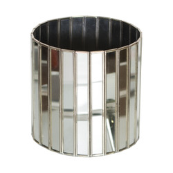 Antique Mirror Faceted Round Planter With Silver Edging