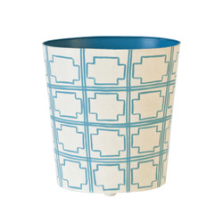 Oval Wastebasket Turquoise And Cream
