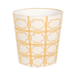 Oval Wastebasket Yellow And Cream