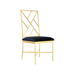 Ashton Fretwork Back Gold Leaf Chair With Navy Velvet Cushion