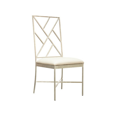 Ashton Fretwork Back Silver Leaf Chair With White Vinyl Cushion