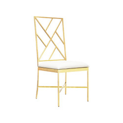 Ashton Fretwork Back Gold Leaf Chair With White Vinyl Cushion