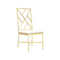 Ashton Fretwork Back Gold Leaf Chair With White Vinyl Cushion