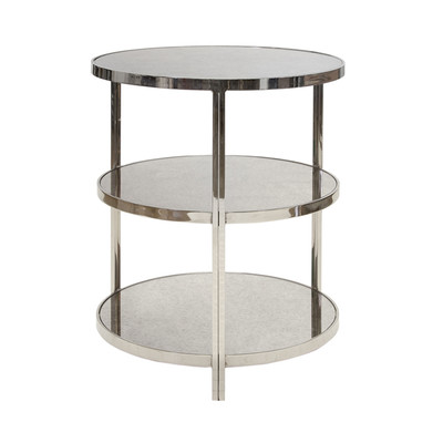 Audrey Nickel Plated 3 Tier Table With Antique Mirror Tops