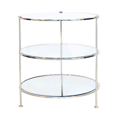 3-Tier Nickel Plated Table With Mirrored Shelves