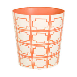 Oval Wastebasket Orange And Cream