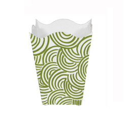 Square Wave Top Wastebasket With Hand Painted Design In Green