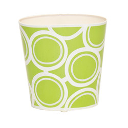Oval Wastebasket Green And Cream Design