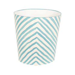 Oval Wastebasket Turquoise And Cream Zebra