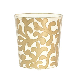 Oval Wastebasket Cream And Gold