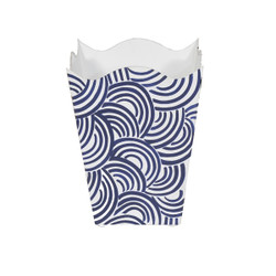 Square Wave Top Wastebasket With Hand Painted Design In Navy