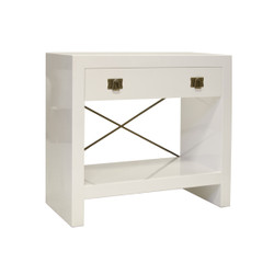 Dalton White Lacquer One Drawer Side Table With Antique Brass Hardware