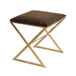"""X"" Side Stool In Gold Leaf With Brown Velvet Top"