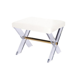Dixon Lucite X Base Stool With Brass Stretcher & White Linen Upholstered Cushion