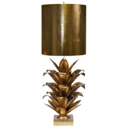 Arianna Gold Leaf Brutalist Palm Table Lamp With Gold Metal Shade