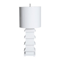"White Painted Large Tole Pagoda Lamp With 13"" Dia Painted Tole Shade"