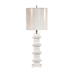"Antiqued Cream Painted Tole Pagoda Lamp With 11"" Dia Painted Tole Shade"