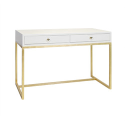 William White Lacquer 2 Drawer Desk On Gold Leafed Base