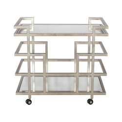 Ireland Silver Leaf Linear Bar Cart With Mirror Shelves