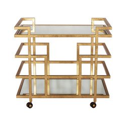 Ireland Gold Leaf Linear Bar Cart With Mirror Shelves
