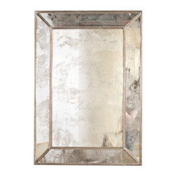 Dion Rectangular Antique Mirror With Champagne Silver Leafed Wood Edges