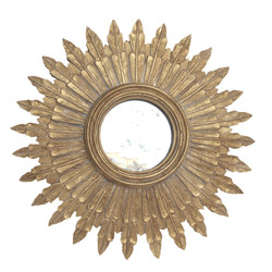Santo Small Gold Leaf Starburst Mirror With Antique Mirror Inset