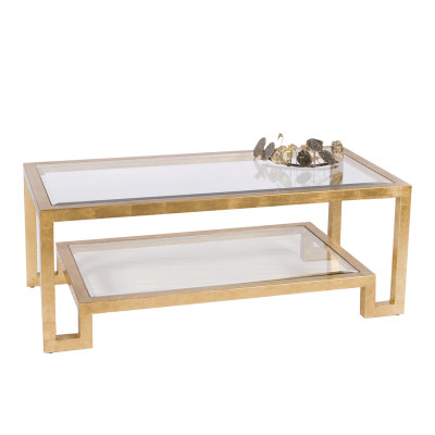 Worlds Away Winston Gold Leaf Two Tier Coffee Table With Clear - Two level coffee table