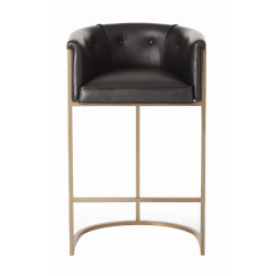 Calvin Bar Stool - Antique Brass and Black Leather