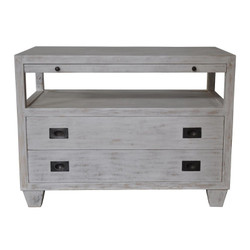 2 Drawer Side Table w/ Sliding Tray - White Wash