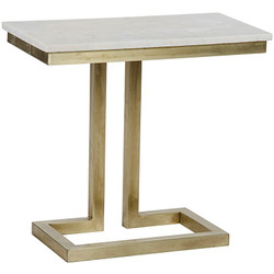 Alonzo Side Table - Quartz - Antique Brass Finish