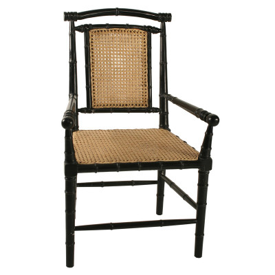 Colonial Bamboo Arm Chair W/ Caning   Hand Rubbed Black