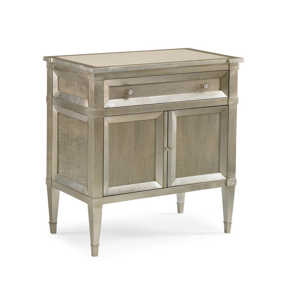 Caracole buona notte smoke finish nighstand with silver for Classic concepts furniture california