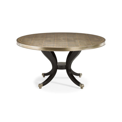 Center Of Attention   Silver Leaf Round Dining Table With Black Pedestal  Base