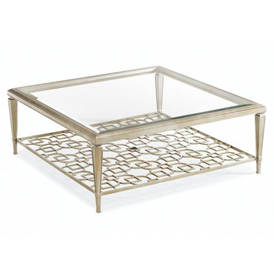Sociables   Taupe Silver Leaf Square Coffee Table With Fretwork Shelf